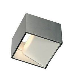 Applique carrée en alu brossé, LOGS IN 5W LED, 3000K